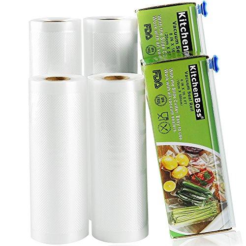 KitchenBoss Sac Sous Vide Alimentaire 4 Rouleaux 15cmx5M et 20cmx5M avec 2 Boîte de Coupe(Pas Plus de Ciseaux) sans BPA, Approuvé par la FDA pour Appareil sous Vide, Qualité Commerciale