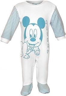 Kleines Kleid Jungen Baby-Strampler Bio-Baumwolle von Mickey Mouse in GRÖSSE 56, 62, 68, 74, Wanzi, Baby-Schlafanzug LANG-ARM mit Druck-Knöpfen, Spiel-Anzug, Einteiler mit Füßchen