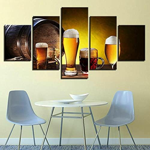 NDSJ Pintura de Bebida de Copa de Vino de Cerveza de Barril de Roble-Cuadro En Lienzo Imagen Impresión Pintura Decoración Canvas De 5 Pieza Mural Moderno Decor Hogareña decoración de Paredes