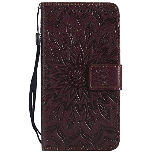 KKEIKO Hülle für Galaxy J2 Pro 2018, PU Leder Brieftasche Schutzhülle Klapphülle, Sun Blumen Design Stoßfest HandyHülle für Samsung Galaxy J2 Pro 2018 - Braun