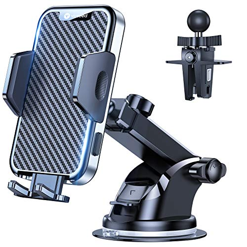 VICSEED 2021 Military-Grade Phone Holder for Car, [Thick Case Friendly] Car Phone Holder Mount, Dashboard Windshield Air Vent Cell Phone Holder for Car, Ultra Stable Soft Protection Fit for All Phones