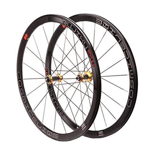Rennrad Laufradsatz 700C V/C-Bremse Doppelwandige Alufelge 40mm Fahrradradsatz 8-11 Geschwindigkeit Kohlefaser-Kassettennaben QR Abgedichtetes Lager (Color : Black)
