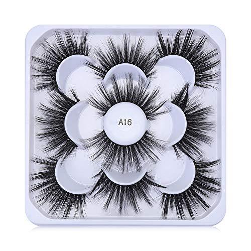 SKONHED 5 Pairs False Eyelashes Handmade Soft Thick Vegan& Cruelty-free Makeup Tools Faux Mink Hair Eyelashes Lash Extension Dramatic Long(A16)