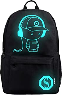 حقيبة ظهر انيمي مضيئة للمراهقين من كلا الجنسين حقائب مدرسية عادية حقيبة سفر تتوهج في الظلام نمط 1