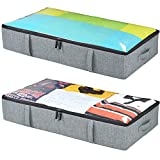 storageLAB Under Bed Storage Containers - Underbed Storage 2-Pack, 33'' x 17'' x 5.7'' - Woven Fabric with Clear Top and Panel Structure