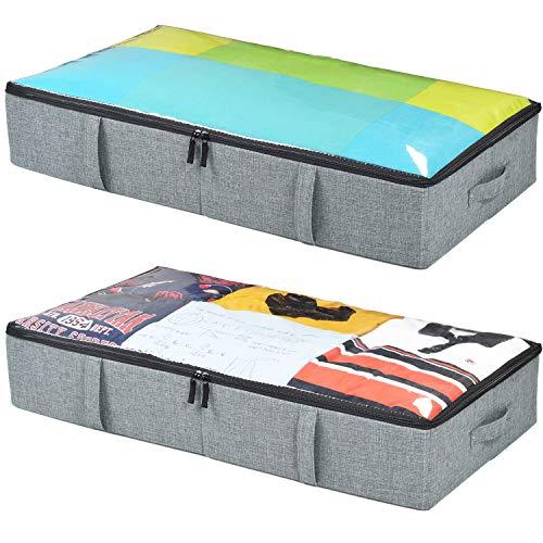 storageLAB Recipientes de almacenamiento debajo de la cama, paquete de 2, 33 x 17 x 5.7 pulgadas, tela tejida con parte superior transparente y estructura de panel