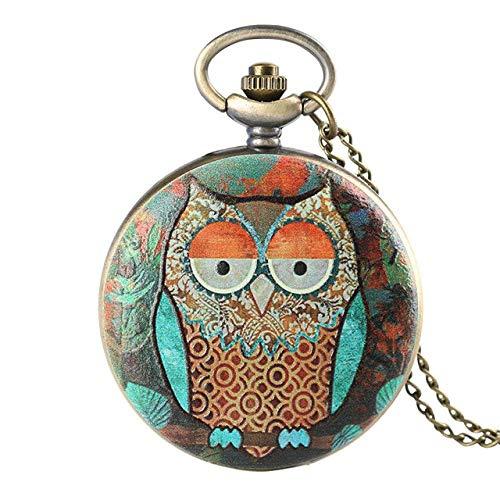 BABYCOW Taschenuhren Einzigartige Bunte künstlerische Eule Taschenuhren Frauen Taschenuhr Männer Analoge Uhr Halskette Anhänger Geschenke für Kinder Jungen Mädchen Pulver