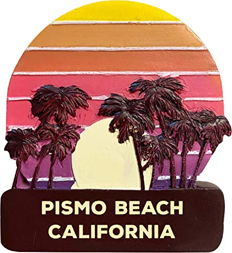 Pismo Beach California Trendy Souvenir Hand Painted Resin Refrigerator Magnet Sunset and Palm Trees Design 3-Inch Approximately