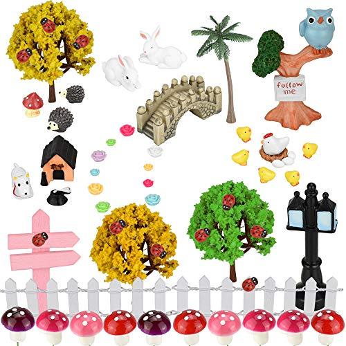 EMAGEREN 58 Stück Feengarten Set Figur Outdoor Decor Miniature Fairy Garden Farbenfreudig Mikrolandschaft Zubehör für DIY Pflanzen Tiere Brücke Palisade Straßenlampe Decoration Geschenk