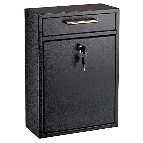 AdirOffice Ultimate Drop Box Wall-Mounted Mailbox - Hanging Secured Postbox - Durable Spacious Key - Perfect for After Hours Deposits Payments Key and Letter Drops (Black)