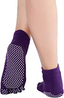 Xiang Ru Cotton Non Slip Fitness Socks Anti-Slip Full Toe with Grips Cotton for Women