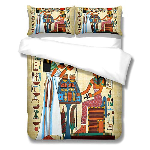 Duvet Cover Set Super King-Zipper Closure with 2 Pillow covers Bedding Set Ultra Soft Hypoallergenic Microfiber Quilt Cover Sets Pharaoh-Pyramid