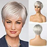 Emmor Short Silver Grey Human Hair Blend Wigs for Women,Natural Hair Pixie Cut Wig,Lightweight/Breathable/Soft (Color 101)
