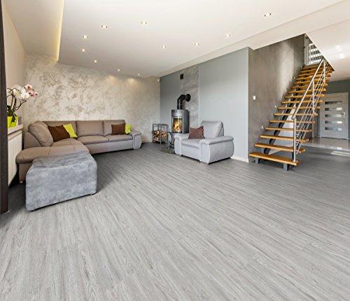 Vinylboden 2 mm Klebefliese 3,40 m² wasserbeständig in verschiedenen Farben Boden Holzoptik Dielen Designboden PVC (Graueiche)