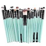 Set di 20 pennelli da trucco, per fondotinta, ombretto, eyeliner, labbra, cosmetici (verde e nero) ideale per uso quotidiano e professionale