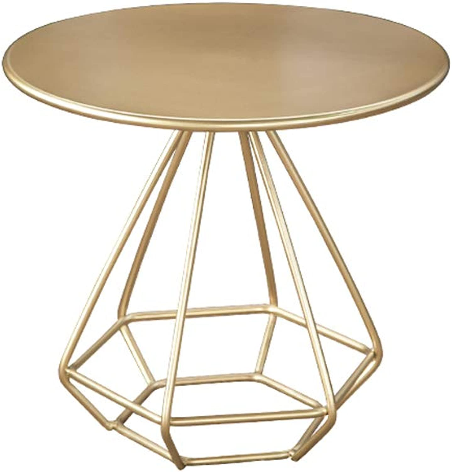 QYSZYG Champagne gold Small Round Table Creative Living Room Parlor Small Coffee Table Simple Mini Coffee Table Wrought Iron Casual Coffee Table Small Coffee Table (Size   50  50 cm)