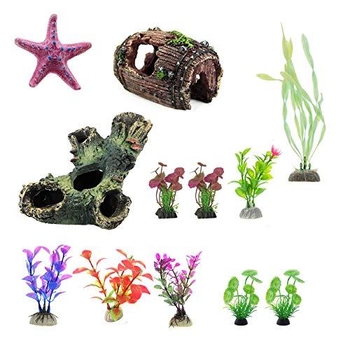 Soapow Paquete de 12 accesorios para acuario, plantas de plástico artificiales con cueva de madera para pecera
