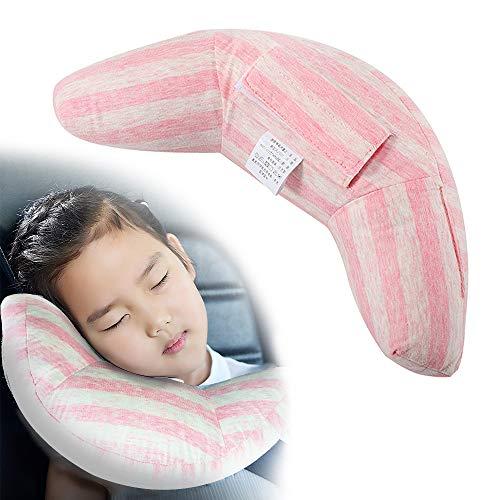 VANDA Almohada para Bebé - Sujeta la Cabeza de Niños en Coche y Carrito 2 en 1 Reposacabezas Coche y Protector Cinturón Seguridad para Bebés y Niños Accesorios Coche Niños (Rosa)