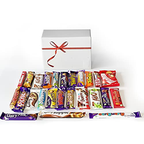 Chocolate Gift Box Selection Hamper Cadbury Dairy Milk   Mars   Twirl   Snickers   Kit Kat & More   25 Chocolate Bars Gift For Chocolate Lovers, Birthday, For Him & Her!