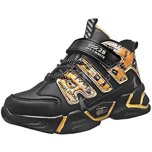 KRONJ Zapatillas de Deporte de Alta para Niños, Forro Cálido Zapatos de Gimnasia, Oro-31
