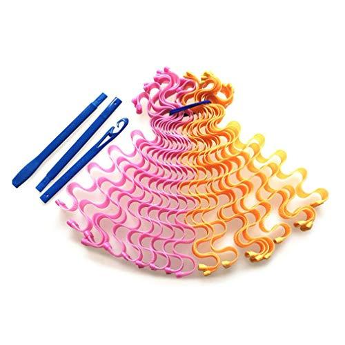 55 Rollos Largos de 12 Huevos Rollo de ondulación de Agua Manual No daña el Cabello Rollo en Espiral Rosa Naranja