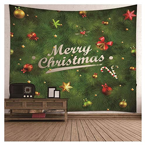 AueDsa Tapiz Poliéster,Bolas de Navidad y Estrellas Merry Christmas Tapices Salon Verde Tapiz Pared 150x130CM