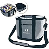 Red Suricata Collapsible Cooler Bag - Large Insulated Soft Cooler Bag for 50 Cans - Keeps Cool for 6 Hours - 30L Portable Cooler Bags Insulated – Soft Sided Travel Cooler (Heathered Dark Grey/Black)