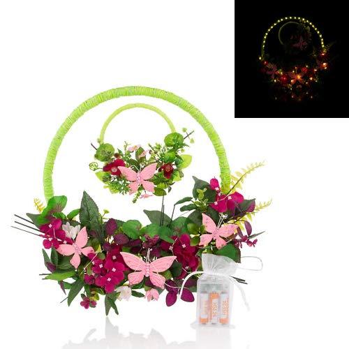 Blumenkranz mit LED Beleuchtung und Timer, Blütenkranz mit Schmetterlingen, Fensterkranz, Türkranz - Deko Frühling Sommer (Rosa)