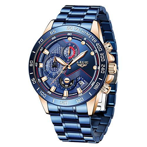 Relojes para Hombre Moda Deportes Impermeable Reloj de Cuarzo Analógico Caballeros Reloj Militar Azul Calendario Reloj de Acero Inoxidable Oro Cronógrafo