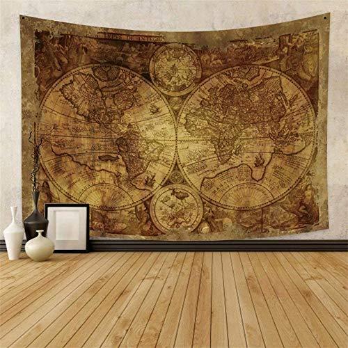 Yhjdcc Vintage Weltkarte Tapisserie Wandbehang Globe Tapisserie Retro Hippie Europ?ische Karte Tapisserie Asien Afrika Amerika Antike Shabby Chic Tapisserie 150x200cm