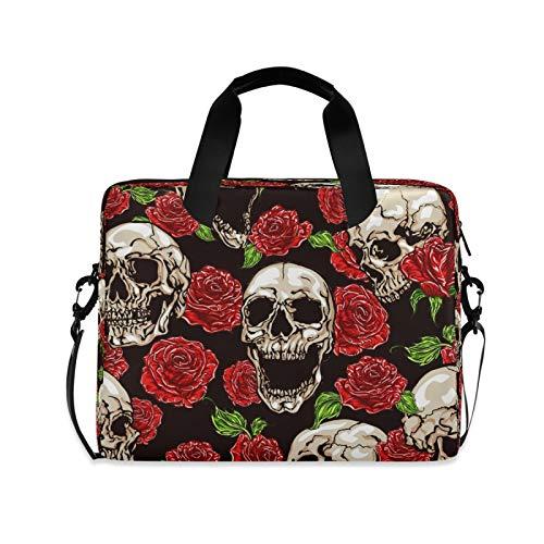 BGIFT Men Women Laptop Bag Halloween Skull Flower Rose Laptop Case Sleeve 15.6 13 14 16 Inch Briefcase Messenger with Shoulder Strap Handle Notebook Computer Tablet Bags for Kids