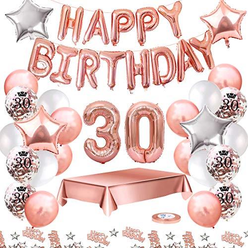 MMTX Palloncini Compleanno 30 Anni Oro Rosa Compleanno Decorazioni per Feste Donna Addobbi Compleanno Bomboniere 30 Anni Ragazza con Tovaglia Konfetti Palloncini in Lattice Stampati