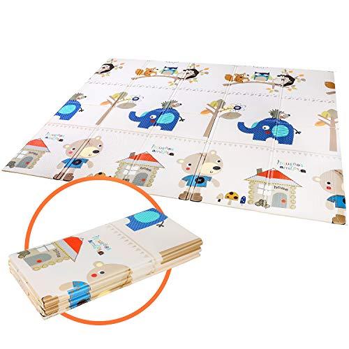 Bamny Spielmatte Baby Geruchlos Teppich Spielteppich Faltbarer Krabbelmatte Ungiftig XPE-Schaumboden rutschfest Beidseitig Tragbar Wasserdicht für Innen (Baumhaus Muster)
