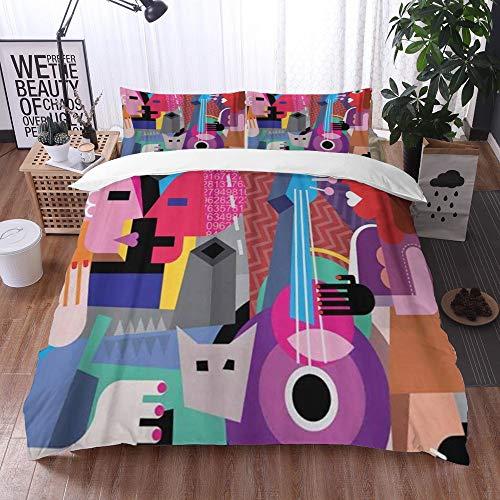 Qinniii 3 Teilig Bettgarnitur Bettwäsche,Picasso Das tanzende Paar und die Frau, die Gitarre spielt Fein,Gemütlich 3D Mikrofaser Bettbezug Set + 2 Kissenbezug 135 x 200 cm