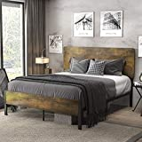 SHA CERLIN Queen Size Bed Frame with Wood Headboard, Platform Bed with Metal Slats, No Box Spring Needed