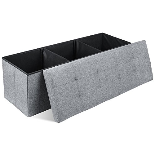 Homfa Ottoman Storage Boxes with Lid Folding Storage Bench Fabric Footstool Blanket Box Max Load 300KG Grey 110x38x38cm