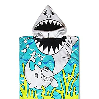 Petift Kids Hooded Beach Bath Towel Poncho for Age 1-8 Years,Shark Theme,24 x 48 Inch,Cotton Beach Swimming Cover-ups Cape for Bath/Shower/Pool,Breathable and Soft