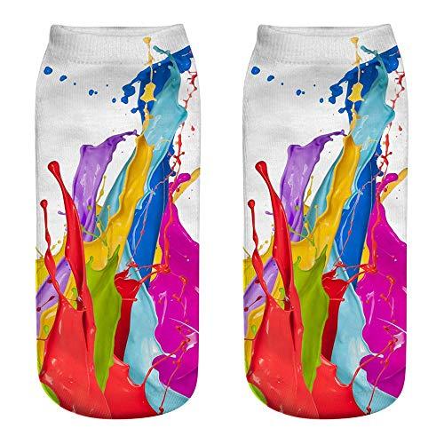 ZZBO Unisex Niedliche Söckchen 3D Regenbogen Pigment Drucken Sneaker Socken Bunte Graffiti Muster Kurze Socken Frau Mode Fußkettchen Socken Lustige Lässige Socken Mann Frau