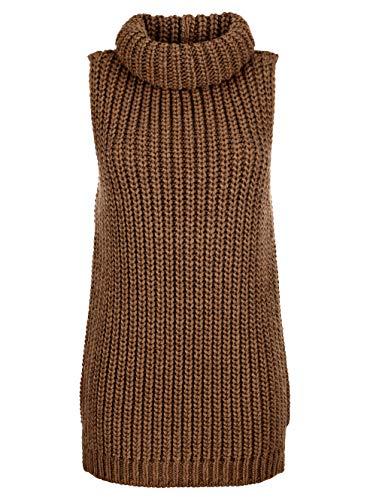 Alba Moda Damen Pullunder Ärmellos mit Rollkragen in Cognac in flauschiger Qualität