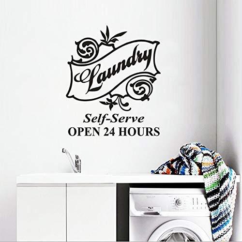 Wäscherei Logo Vinyl Wandaufkleber Selbstbedienung Waschküche Dekoration 24 Stunden geöffnet Poster Kleidung Waschladen Wandtattoo Wohnkultur Aufkleber A3 42x49cm