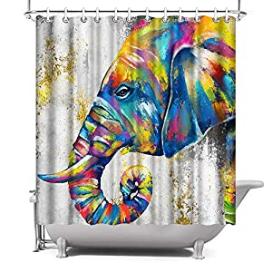 """Colorful Elephant Shower Curtain 72""""x72"""" African Animal Elephant Painting Gold and Grey Print Design Shower Curtain Polyester Fabric Bathroom Decor, with Hooks"""