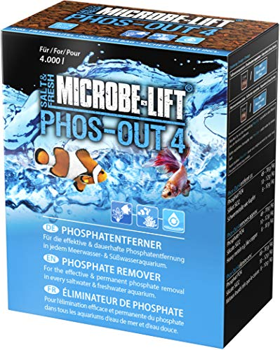 MICROBE-LIFT Phos-Out 4 Filtermedium – Phosphat-Entferner für jedes Meerwasser- & Süßwasseraquarium, entfernt Phosphat, Silikat, Sulfid & Gelbstoffe, auf Eisenhydroxid-Basis, 625g
