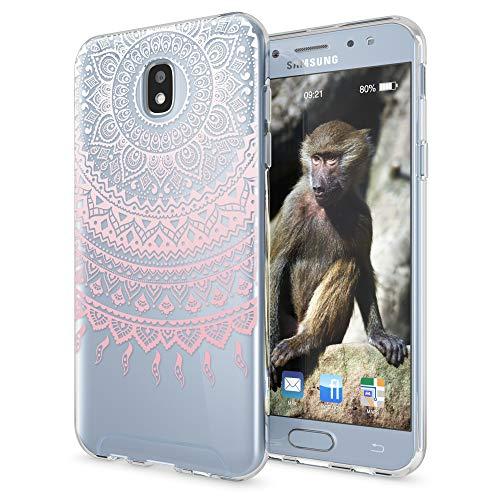 NALIA Custodia compatibile con Samsung Galaxy J3 2017 (EU-Model), Motivo Cover Protezione Silicone Trasparente Sottile Case, Morbido Ultra-Slim Protettiva Bumper Guscio, Designs:Mandala Pink Rosa