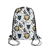 Brookefghgsh Drawstring Bag Cat Lion and Cactus School Promotional Cinch Bags Sack Bag Drawstring Bag