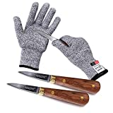 Aedgoye Oyster Clam Shucking Knife Set Stainless Steel Knife Shucker More Secure With Oyster Shucking Glove Cut Resistant Level 5 Protection Seafood Opener Kit Tools