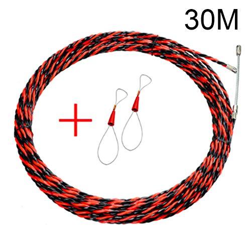 kangOnline - Kit con guía para instalación de cables y piezas para sujeción, ideal para electricistas, herramienta de ayuda en la instalación de cables (5, 10, 15, 20, 25, 30 y 50m), acero, 30 m