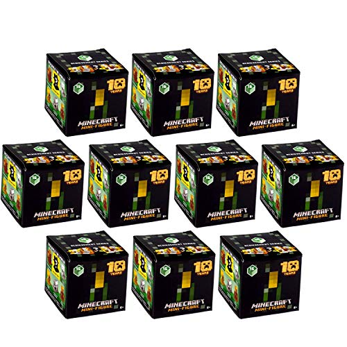 JINX 10 X Minecraft Mini Figuren (Achievement Serie 16) 10 Jahre Mystery Blind Box Pack