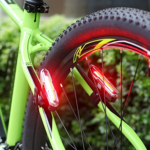 fuchsiaan Fahrrad Rücklicht wasserdicht, MTB USB wiederaufladbare Rücklicht Rücklicht Nachtfahrten Sicherheit Strobe Warnleuchte mit rotem und blauem Licht