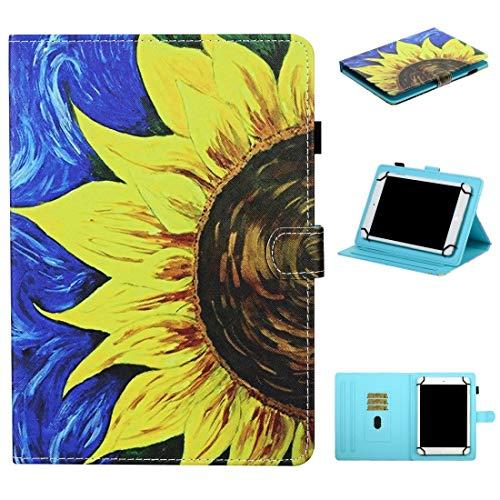 CellphoneParts BZN para 8 Pulgadas Universal Tablet Coloree Stitching Horizontal Flip Funda de Cuero con Soporte y Ranuras para Tarjetas y Tira Antideslizante (Color : Sunflower)