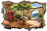 DesFoli Toskana Brunnen 3D Look Wandtattoo 70 x 115 cm